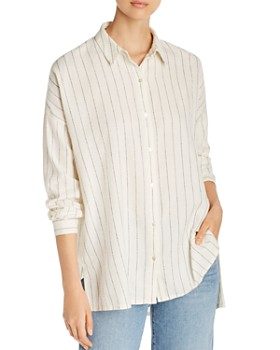 975250b3e Eileen Fisher - Stitched Pinstripe Button-Down Top ...