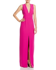 Aidan by Aidan Mattox - V-Neck Front-Slit Gown - 100% Exclusive