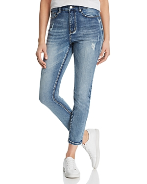 Karen Kane Distressed Skinny Ankle Jeans in Denim
