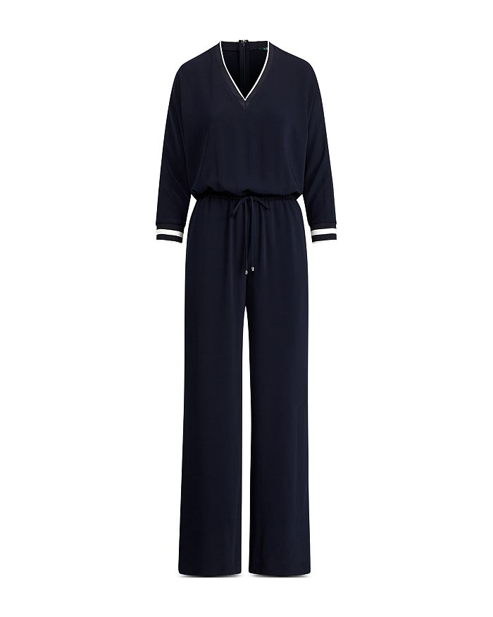 9a005de0b42 Ralph Lauren - Striped Trim Drawstring Jumpsuit