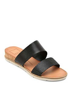Dolce Vita - Women's Vala Embossed-Leather Slide Sandals