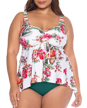 BECCA ETC by Rebecca Virtue - Emma Tankini Top & Color Code Side Tab Tankini Bottom