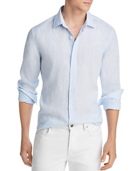 The Men's Store at Bloomingdale's - Linen Striped Regular Fit Button-Down Shirt - 100% Exclusive