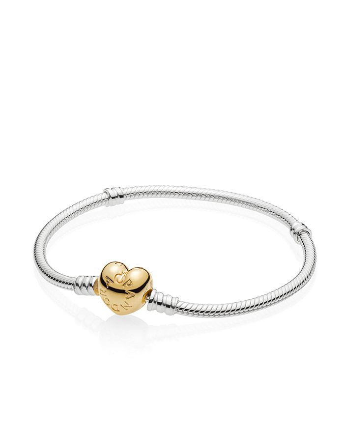Pandora - Gold Tone-Plated Sterling Silver & Sterling Silver Shine Heart Clasp Bracelet
