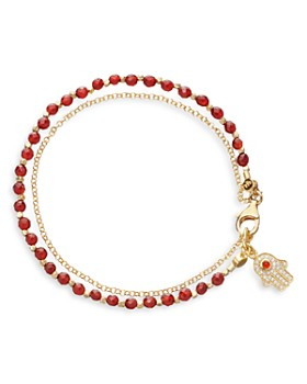 Astley Clarke - Hamsa Red Agate Biography Bracelet in 18K Gold-Plated Sterling Silver