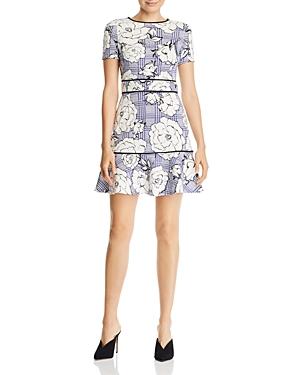 Aqua Piped Floral & Check Dress - 100% Exclusive