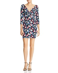 GUESS - Islynn Twist-Front Floral-Print Mini Dress