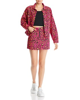 Sunset & Spring - Leopard-Print Denim Mini Skirt - 100% Exclusive