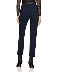 BCBGMAXAZRIA - Faux-Leather-Trim Ankle Pants