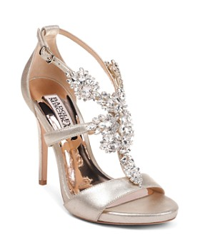 7496cea1c2f5 Badgley Mischka - Women s Leah II Embellished Metallic Suede High-Heel  Sandals ...
