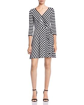 Bailey 44 - Dry Dock Striped Rib-Knit Faux-Wrap Dress