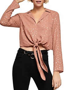 BCBGENERATION - Metallic-Star Tie-Front Top