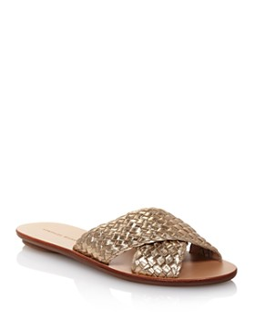 8f2b772a0d2e7c Loeffler Randall - Women s Claudie Metallic Woven Leather Slide Sandals ...