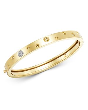 Roberto Coin 18K Yellow Gold Pois Moi Luna Diamond Thin Bangle Bracelet
