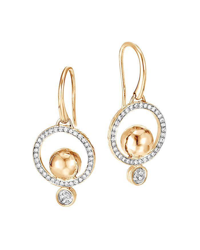 JOHN HARDY - 18K Yellow Gold Dot Pavé Diamond Drop Earrings