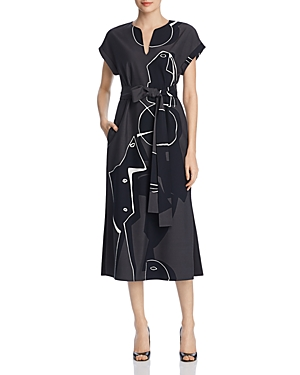 Lafayette 148 Dresses COSIMIA ABSTRACT PRINT MIDI DRESS