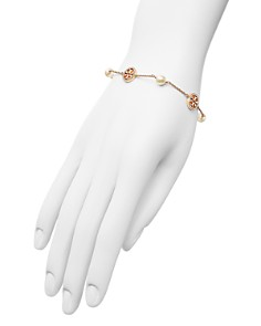 Tory Burch - Crystal Logo & Simulated Pearl Station Bracelet