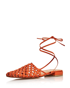 Loq Mules LOQ WOMEN'S COSTA WOVEN LEATHER LACE-UP MULES