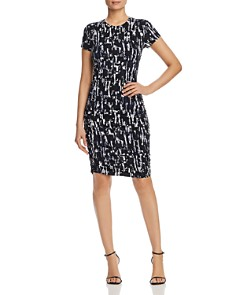 Kenneth Cole - Abstract-Print Ruched Knit Dress