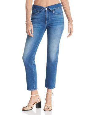 Frame Le High Foldover Straight-Leg Jeans in Stallis