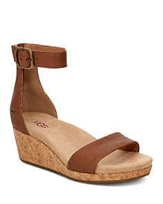 UGG® - Women's Zoe II Leather Cork Wedge Ankle Strap Sandals