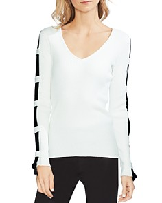 VINCE CAMUTO - Ladder-Sleeve Ribbed Sweater