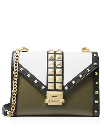 MICHAEL Michael Kors - Whitney Large Color-Block Studded Leather Shoulder Bag