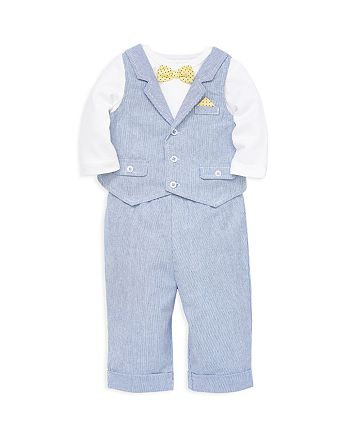 Little Me - Boys' 3-Piece Bowtie Bodysuit, Vest & Pants Set - Baby