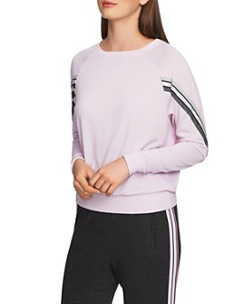 1.STATE - Striped-Sleeve Sweater
