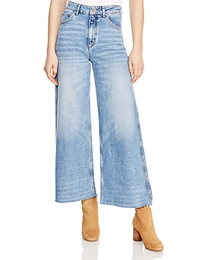 Sandro Maya Cropped Mid Rise Wide-Leg Jeans in Blue Vintage