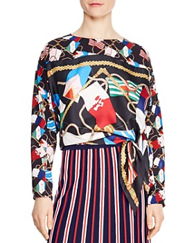 Sandro - Laurence Printed Side-Tie Blouse