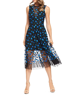 Dress The Population Dresses DRESS THE POPULATION ROBYN EMBROIDERED MESH ILLUSION DRESS