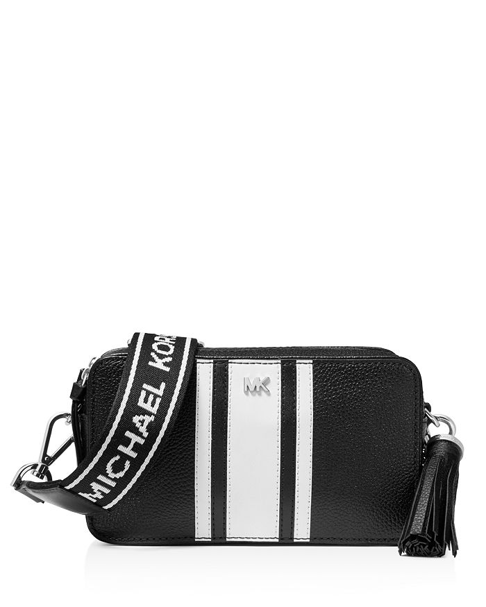 MICHAEL Michael Kors - Small Striped Leather Camera Crossbody