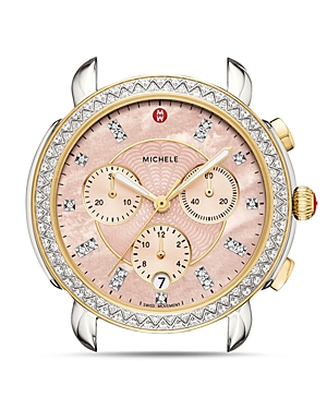 Michele Watches SIDNEY TWO-TONE PINK DIAL DIAMOND WATCH HEAD, 38MM