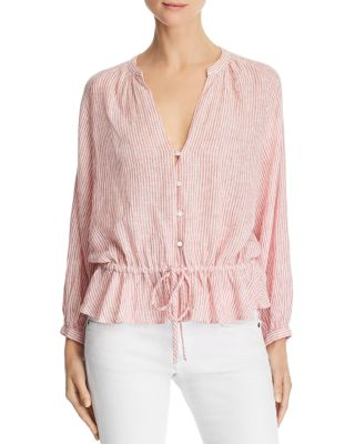 Marti Striped Drawstring Blouse by Rails