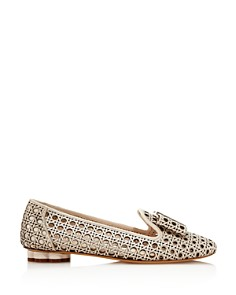 Salvatore Ferragamo - Women's Sarno Woven Leather Flower Heel Loafers