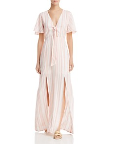 Lost and Wander - Marina Striped Tie-Detail Maxi Dress