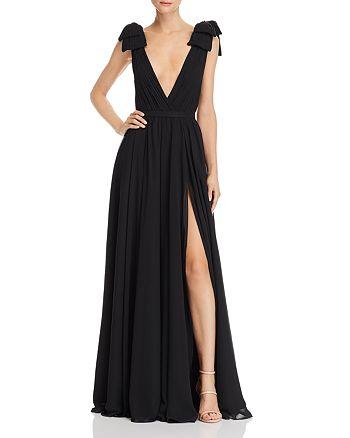 Basix - Pleated Deep-V Gown