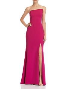 AQUA - Asymmetric Strapless Gown - 100% Exclusive