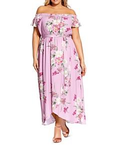 City Chic Plus - Off-the-Shoulder Floral-Print Maxi Dress