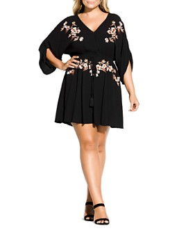 City Chic Plus - Floral-Embroidered Dress