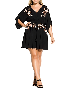City Chic Plus Floral Embroidered Dress