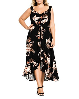 e29f65a1e21 City Chic Plus - Sleeveless Floral-Print Ruffled Maxi Dress ...