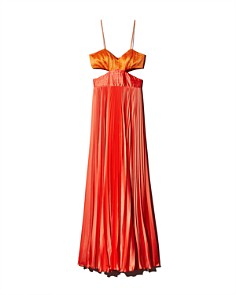 Amur - Elodie Pleated Color-Block Satin Gown