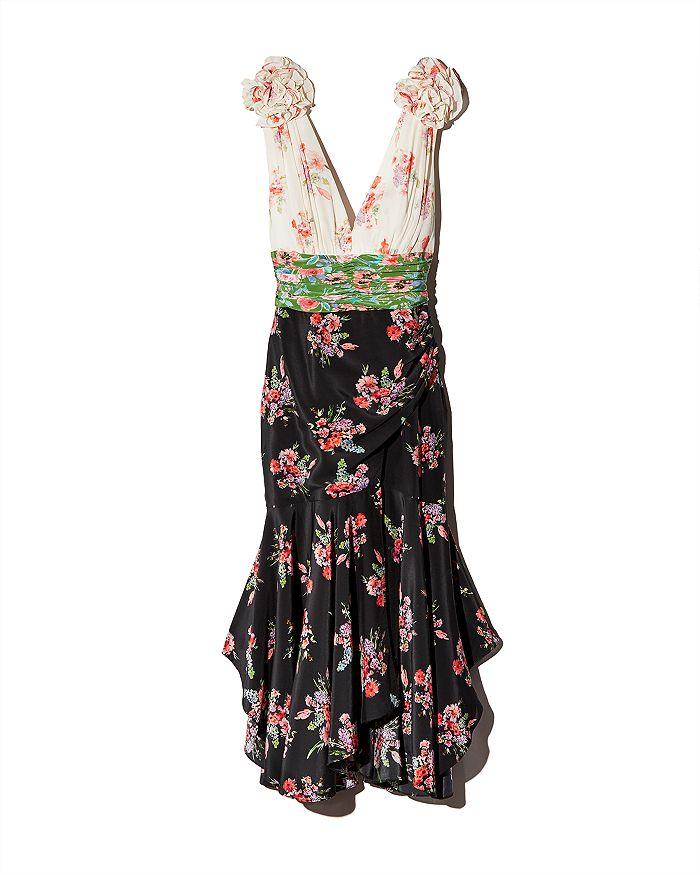 Amur - Lolly Color-Blocked Floral Silk Dress