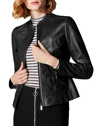 KAREN MILLEN - Zip-Front Leather Jacket