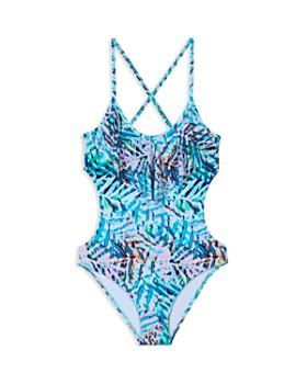 aefff5f3dab PilyQ - Girls' Palm Print Cutout One-Piece Swimsuit - Little Kid, ...