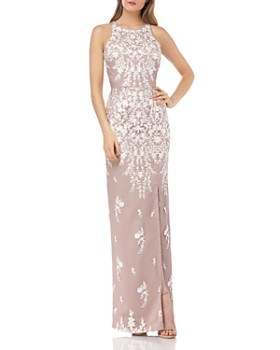 JS Collections - Embroidered Column Gown