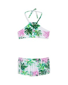 PilyQ - Girls' Embroidered Fringe-Bottom Two-Piece Swimsuit - Little Kid, Big Kid