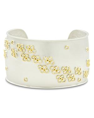 Freida Rothman Fleur Bloom Wide Cuff Bracelet in 14K Gold-Plated & Rhodium-Plated Sterling Silver